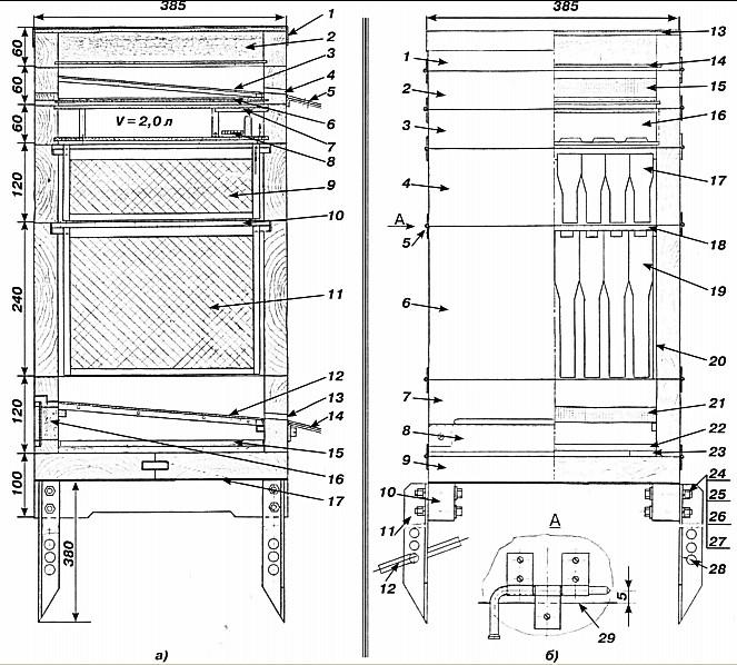 Схема улья вертикального